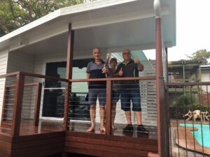 Julianne and Paul outside their new Granny Flat